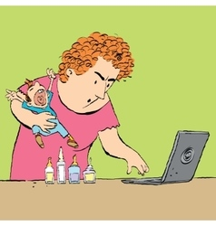 Mother treats the child reading medical sites vector