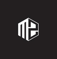 Mz logo monogram hexagon with black background vector