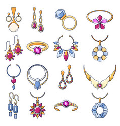 necklace jewelry chain icons set cartoon style vector image