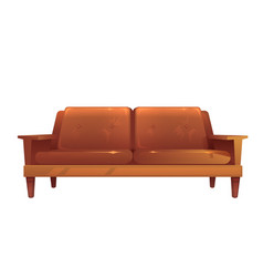 Old leather brown sofa isolated vintage style vector
