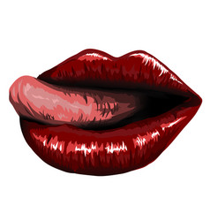 open mouth with red female lips and tongue vector image