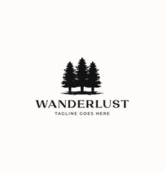 pine tree logo template isolated in white vector image