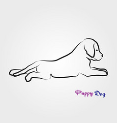 Puppy dog laying down line art vector