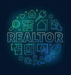 Realtor round colored in vector
