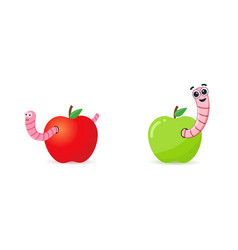 Red and green apples with worms worm is a cartoon vector