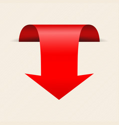 Red down 3d arrow on beige background bent sign vector