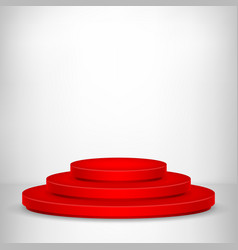 round stage podium stage backdrop festive red vector image