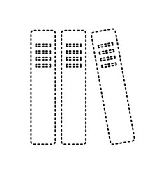 row of binders office folders icon black vector image