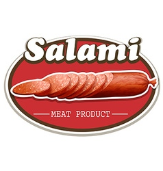 Salami food label on white vector image