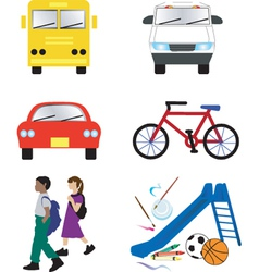 school transportation icons vector image