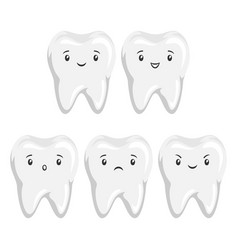 Set cute tooth with different facial vector