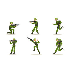 set images soldiers in green uniforms vector image