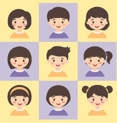 set of cute kids face avatar vector image