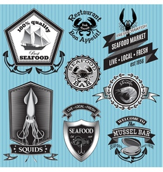 set of labels on the topic seafood vector image