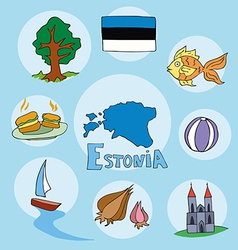 set of national profile of the estonia vector image