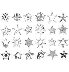 sketch stars doodle star shape cute hand drawn vector image