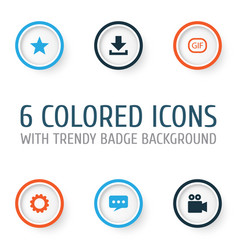 social icons set collection of message camcorder vector image