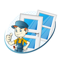 specialist in the installation of windows and vector image