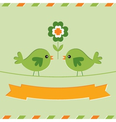 St patricks day card with cute birds vector