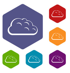 Storm cloud icons set hexagon vector