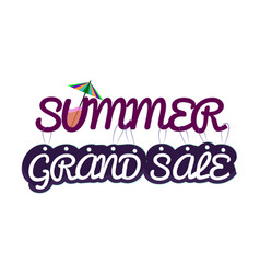 Summer sale card template painted inscriptions vector