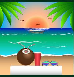 Sunset sea coconut palmtrees sunglasses beach vector
