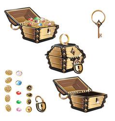 Treasure chest set vector