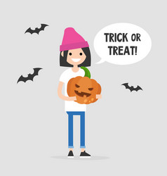 trick or treat halloween young female character vector image
