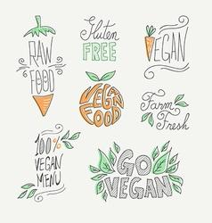 Vegan and raw food handmade labels set vector image