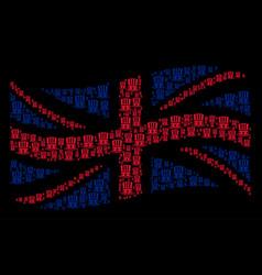 waving british flag mosaic of uncle sam hat items vector image