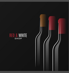 Wine shop logo bottles red and white wine vector