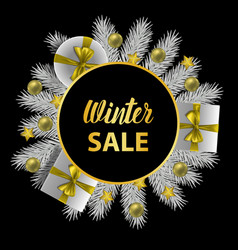 winer sale card with gold lettering and christmas vector image
