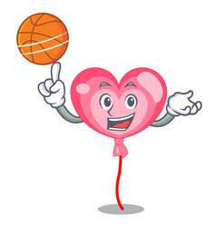 With basketball ballon heart character cartoon vector