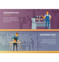 Woodworking Carpentry Service 2 Flat Banners vector