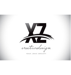 Xz x z letter logo design with swoosh and black vector