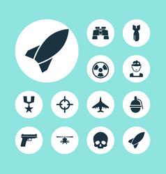 battle icons set collection of dangerous vector image