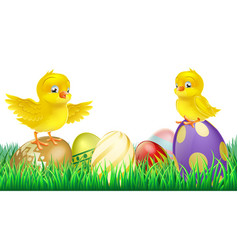 cute yellow chicks on easter eggs vector image vector image