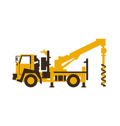 Icon drilling truck construction machinery vector