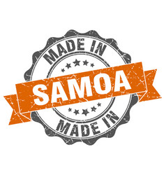 made in samoa round seal vector image vector image
