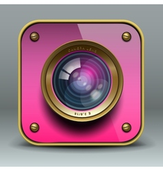 Pink photo camera icon vector image