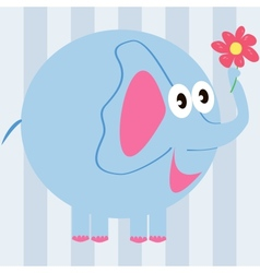 cartoon elephant with a flower vector image vector image