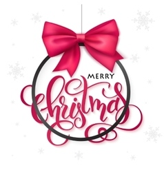 christmas poster with hand lettering golden vector image vector image