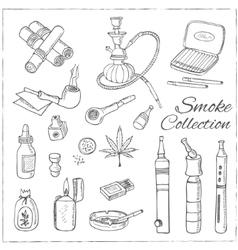 Doodle retro smoke set with hookah vape cannabis vector image