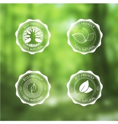 Eco Vintage Labels Bio template set on blurred vector image vector image
