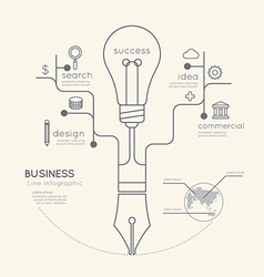 Flat linear Infographic Business Education Pen vector image vector image