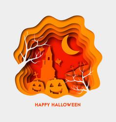 happy halloween 3d abstract paper cut vector image