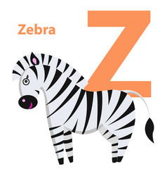 orange character z word zebra on alphabet card vector image vector image