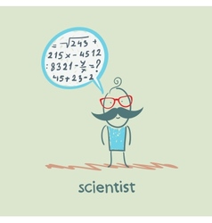 scientist thinks about the formula vector image vector image