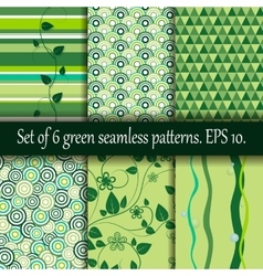 Set of six green seamless patterns vector image