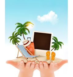 Summer vacation background Hands holding up vector image vector image